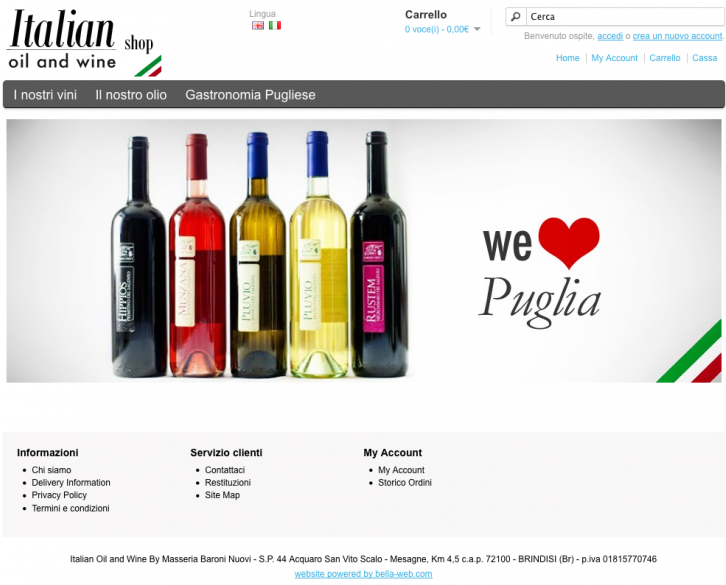 Italian Oil And Wine, Shop